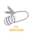 hand drawn decorative bread bakery vector image vector image