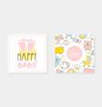 happy bastore card templates set bagirl boy vector image vector image