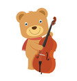happy cute brown teddy bear playing cello in flat vector image vector image