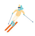 happy man in winter outerwear skiing down slope vector image vector image