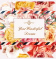invitation with realistic pink and beige roses vector image vector image
