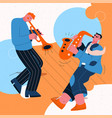 jazz band playing music at festival concert or vector image vector image