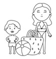 little boy with mother and accessories vector image