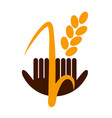 logo wheat hands great design for any purposes vector image