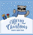 merry christmas greeting card with raccoon vector image vector image