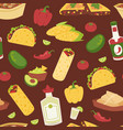 mexican traditional food with meat seamless vector image