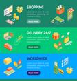 online shopping banner horizontal set isometric vector image