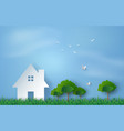 paper art of house in green field and blue sky vector image vector image