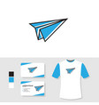 paper plane logo design with business card and t vector image