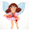 pretty fairy girl with magic wand vector image vector image