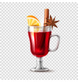 realistic mulled wine glass orange anise vector image vector image