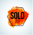 red watercolor sold item label vector image vector image