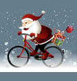 Santa Claus riding a bike vector image vector image