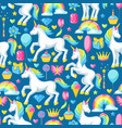 seamless pattern with unicorns and fantasy items vector image vector image