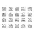 set landscape line icons bridge desert vector image vector image