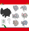 shadows activity game with elephants vector image vector image