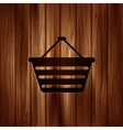 Shopping basket icon Wooden texture vector image
