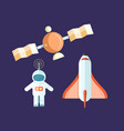 spaceman and flying satellite with rocket poster vector image vector image