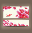 spring sale banner design with sakura blossom vector image vector image