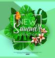 summer background tropical plants bird flowers vector image