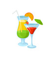 tropical cocktails summer drinks vector image