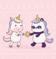 unicorn and panda with star cartoon magical vector image