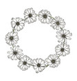 vintage round frame with white chamomile flowers vector image vector image