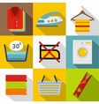 washing icons set flat style vector image vector image