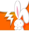 White cute rabbit orange comic bubble vector image