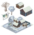 Winter landscape with several snow-covered houses vector image vector image