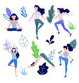 woman doing yoga stretching fitness set vector image