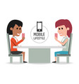women in the restaurant with smartphone in the vector image