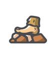 yeti leg rocky road icon cartoon vector image