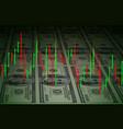 exchange chart on dollars background for design vector image