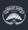 bakery shop logo emblem with croissant vector image vector image