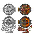 barbecue grill top view charcoal kebab mushroom vector image vector image