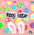 big bunny ears and egg on pink back ground vector image