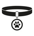 black and white pet collar silhouette vector image vector image