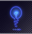 blue neon lightbulb logo vector image vector image
