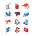 camping and hiking equipment - modern isometric vector image