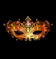 carnival mask icon gold silhouette isolated vector image