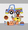 cartoon car repair shop with funny mechanic vector image vector image