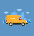 cartoon delivery van with deliveryman vector image vector image