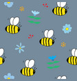 cute bee seamless pattern cartoon hand drawn vector image vector image