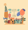 cute little town with autumnal trees in cartoon vector image vector image