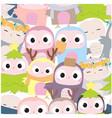 cute owl birthday cartoon seamless pattern vector image