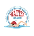 emblem cartoon swimming man vector image