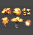 exploding bomb light effect smoke and fireball vector image vector image