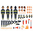 fireman characters firefighter body parts and vector image vector image