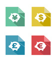flat piggy bank currency exchange vector image vector image